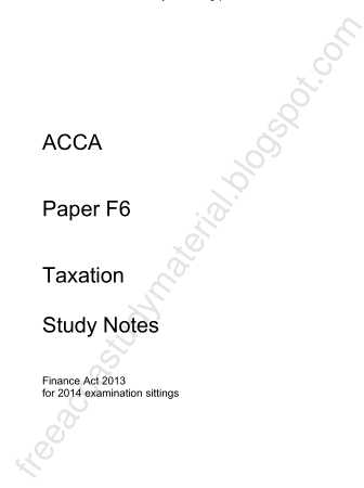 2014 ACCA F6 Taxation Study Notes KAPLAN Book, Download Free Templates