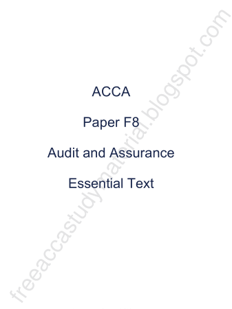 2015 ACCA F8 Essential Text KAPLAN Book, Download Free Templates