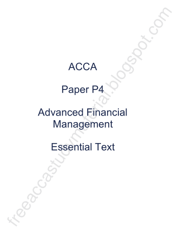 2015 ACCA P4 Essential Text KAPLAN Book, Download Free Templates