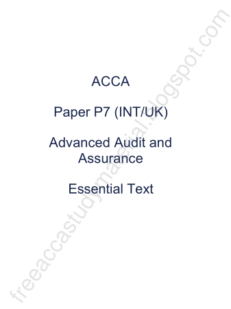 2015 ACCA P7 INT Essential Text KAPLAN Book, Download Free Templates
