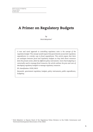 A Primer on Regulatory Budgets Book, Download Free Templates