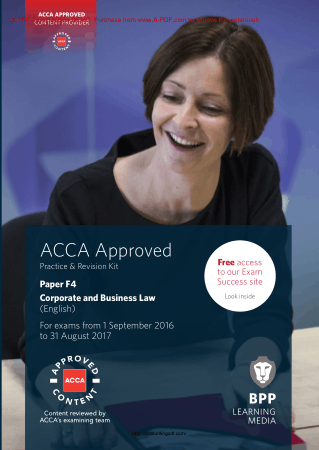ACCA F4 Corporate and Business Law BPP Revision Kit 2017 Book, Download Free Templates