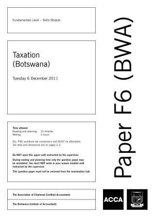 ACCA F6 Taxation Botswana 2011 Dec Question Book, Download Free Templates