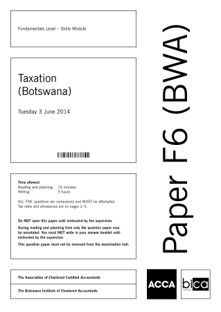 ACCA F6 Taxation Botswana 2014 Jun Question Book, Download Free Templates