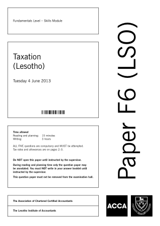 ACCA F6 Taxation Lesotho 2013 Jun Question Book, Download Free Templates