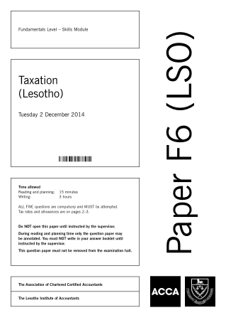 ACCA F6 Taxation Lesotho 2014 Dec Question Book, Download Free Templates