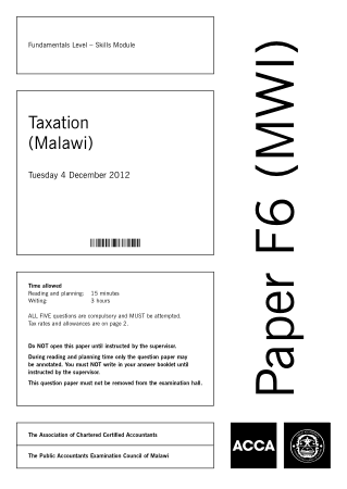 ACCA F6 Taxation Malawi 2012 Dec Question Book, Download Free Templates