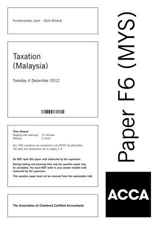 ACCA F6 Taxation Malaysia 2012 Dec Question Book, Download Free Templates