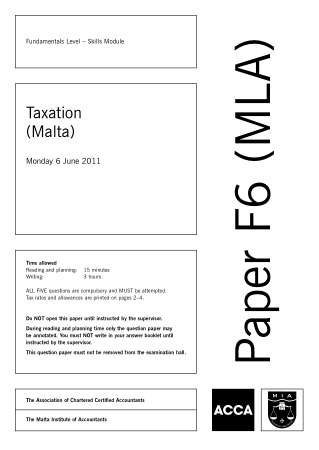 ACCA F6 Taxation Malta 2011 Jun Question Book, Download Free Templates