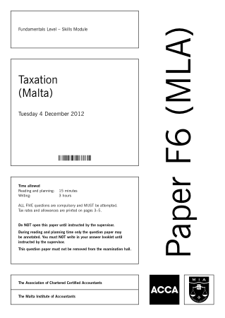 ACCA F6 Taxation Malta 2012 Dec Question Book, Download Free Templates