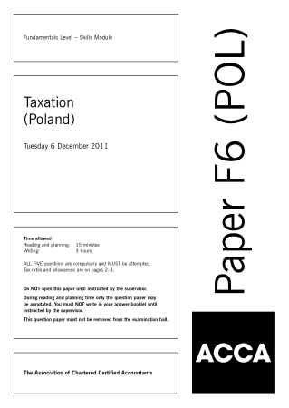 ACCA F6 Taxation Poland 2011 Dec Question Book, Download Free Templates