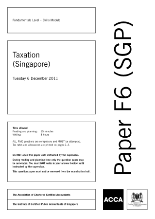 ACCA F6 Taxation Singapore 2011 Dec Question Book, Download Free Templates