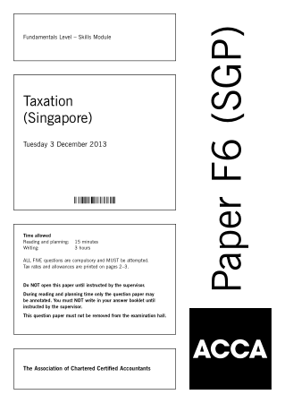 ACCA F6 Taxation Singapore 2013 Dec Question Book, Download Free Templates
