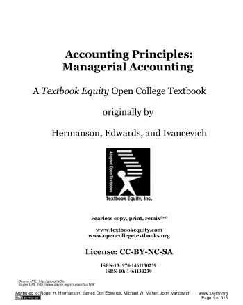 Accounting Principles A Business Perspective Managerial Accounting Book, Download Free Templates