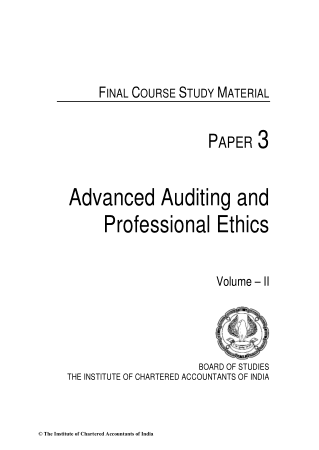 Advanced Auditing And Professional Ethics Study Material ICAI 2013 Book, Download Free Templates