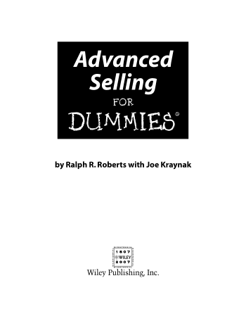 Advanced Selling for Dummies Book, Download Free Templates