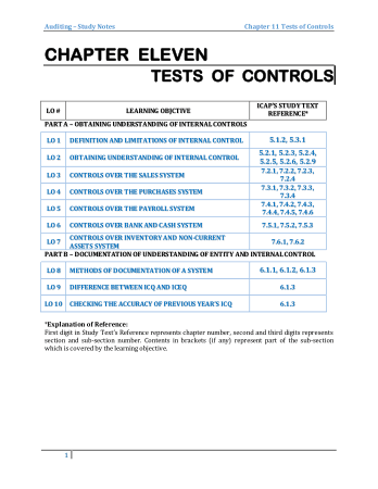 Audit book by M.Asif Chapter 11 Tests of Controls Book, Download Free Templates
