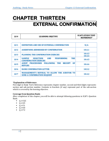 Audit book by M.Asif Chapter 13 External Confirmation Book, Download Free Templates