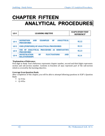 Audit book by M.Asif Chapter 15 Analytical Procedures Book, Download Free Templates