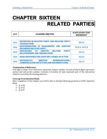 Audit book by M.Asif Chapter 16 Related Parties Book, Download Free Templates