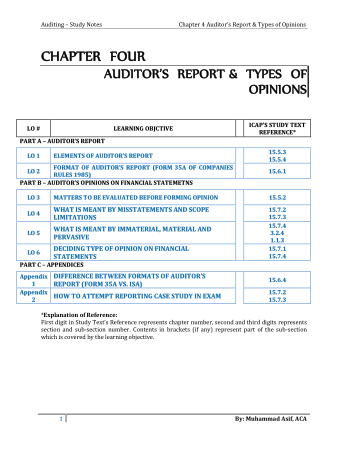Audit book by M.Asif Chapter 4 Auditors Report Book, Download Free Templates