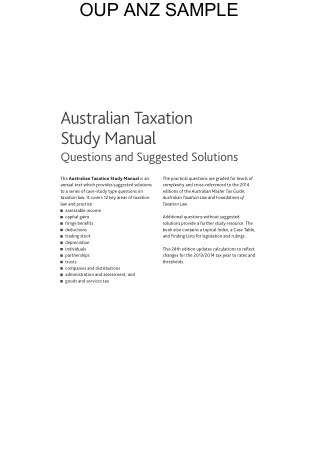 Australian Taxation Study Manual Book, Download Free Templates
