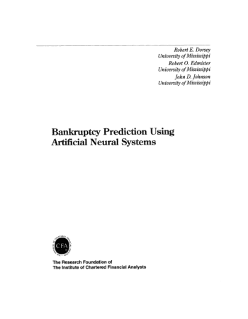 Bankruptcy Prediction Using Artificia1 Neural Systems Book, Download Free Templates