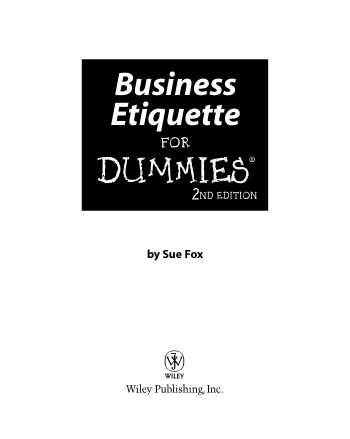 Business Etiquette For Dummies 2nd Edition Book, Download Free Templates