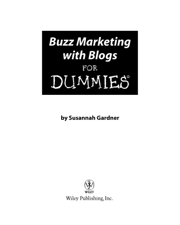 Buzz Marketing with Blogs for Dummies Book, Download Free Templates