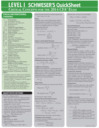 CFA Level 1 Quicksheet 2014 Book, Download Free Templates