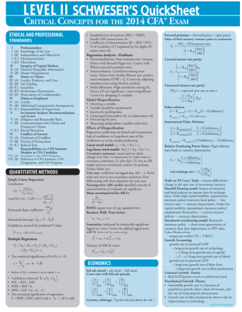 CFA Level 2 Quicksheet 2014 Book, Download Free Templates