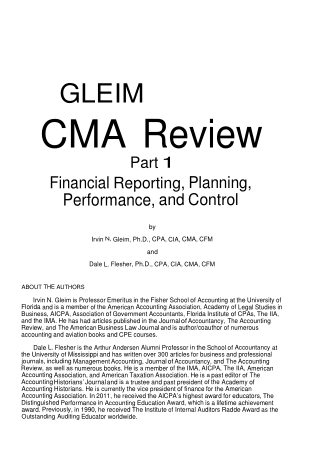 CMA USA Part1 Financial Reporting Planning Performance and Control Book, Download Free Templates