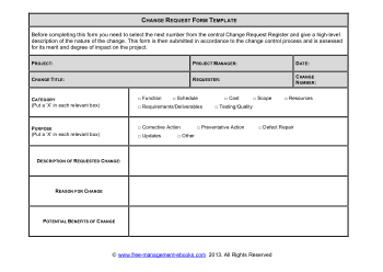 Change Request Form Template Book, Download Free Templates