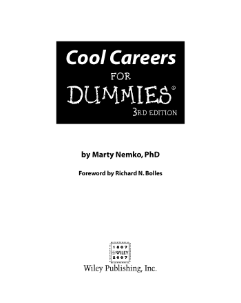 Cool Careers for Dummies 4th Edition Book, Download Free Templates
