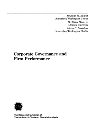 Corporate Governance Firm Performance Book, Download Free Templates