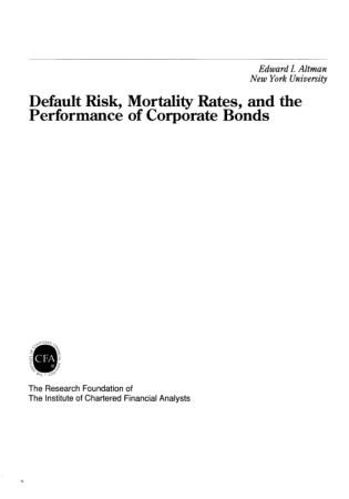 Default Risk Mortality Rates and the Performance of Corporate Bonds Book, Download Free Templates
