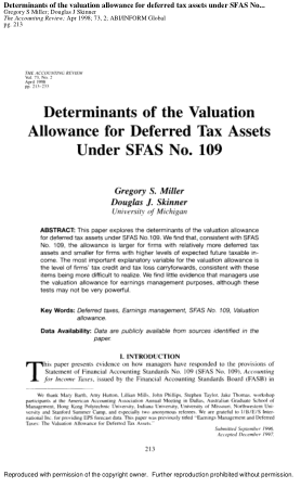 Determinants of the valuation allowance for deferred tax assets under SFAS 1998 Book, Download Free Templates