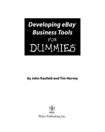 Developing eBay Business Tools for Dummies Book, Download Free Templates