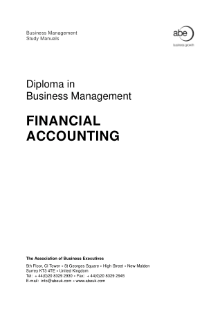 Diploma in Business Management Financial Accounting ABE Book, Download Free Templates