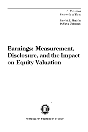 Earnings Measurement Disclosure and the Impact on Equity Valuation Book, Download Free Templates