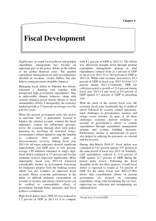 Economic Suvey of Pakistan 2014-2015 Chapter 04 Fiscal Development Book, Download Free Templates
