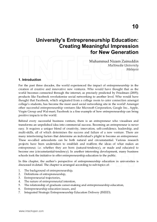 Entrepreneurship Born Made and Educated Chapter 10 Book, Download Free Templates