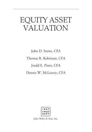 Equity Asset Valuation Book, Download Free Templates