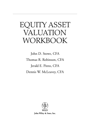 Equity Asset Valuation Workbook Book, Download Free Templates