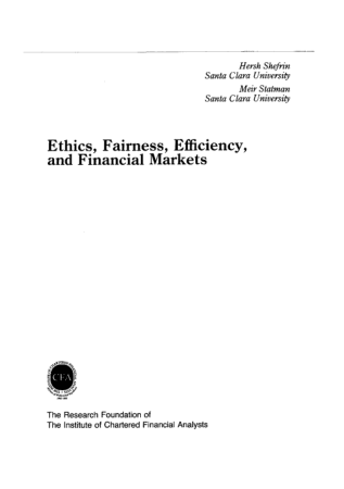 Ethics Fairness Efficiency and Financial Markets Book, Download Free Templates
