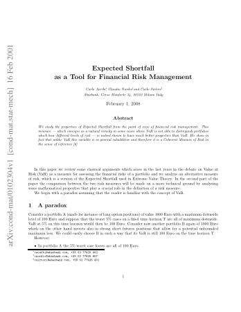 Expected Shortfall as a Tool for Financial Risk Management, Download Free Templates