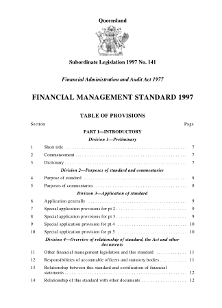 Financial Management Standard 141 1997 Book, Download Free Templates