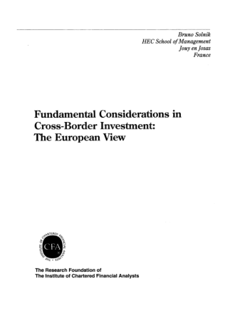 Fundamental Considerations in Cross Border Investment The European View Book, Download Free Templates
