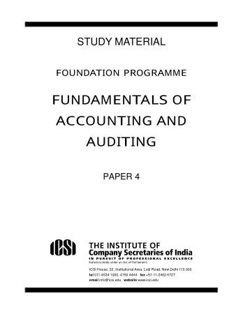 Fundamentals of Accounting and Auditing ICSI Book, Download Free Templates