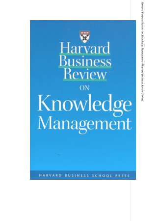Harvard Business Review on Knowledge Management Book, Download Free Templates
